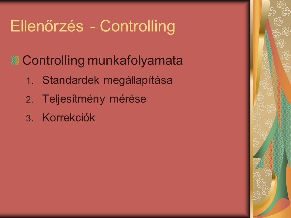 Ellenőrzés - Controlling Controlling munkafolyamata 1. Standardek megállapítása 2. Teljesítmény mérése 3. Korrekciók