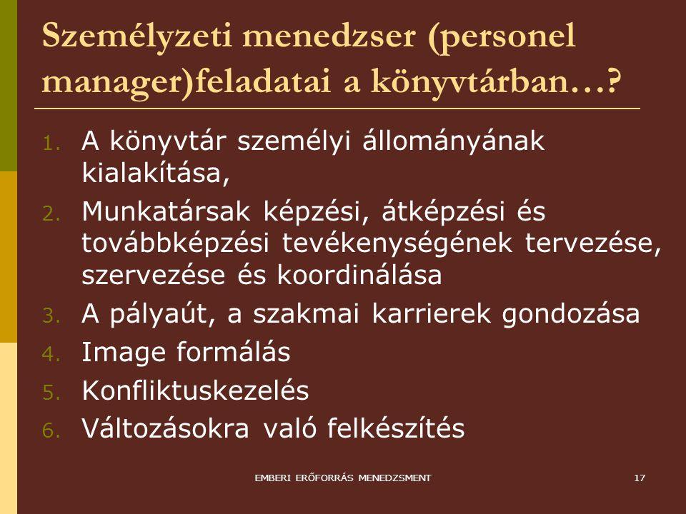 EMBERI ERŐFORRÁS MENEDZSMENT17 Személyzeti menedzser (personel manager)feladatai a könyvtárban…? 1. A könyvtár személyi állományának kialakítása, 2. M
