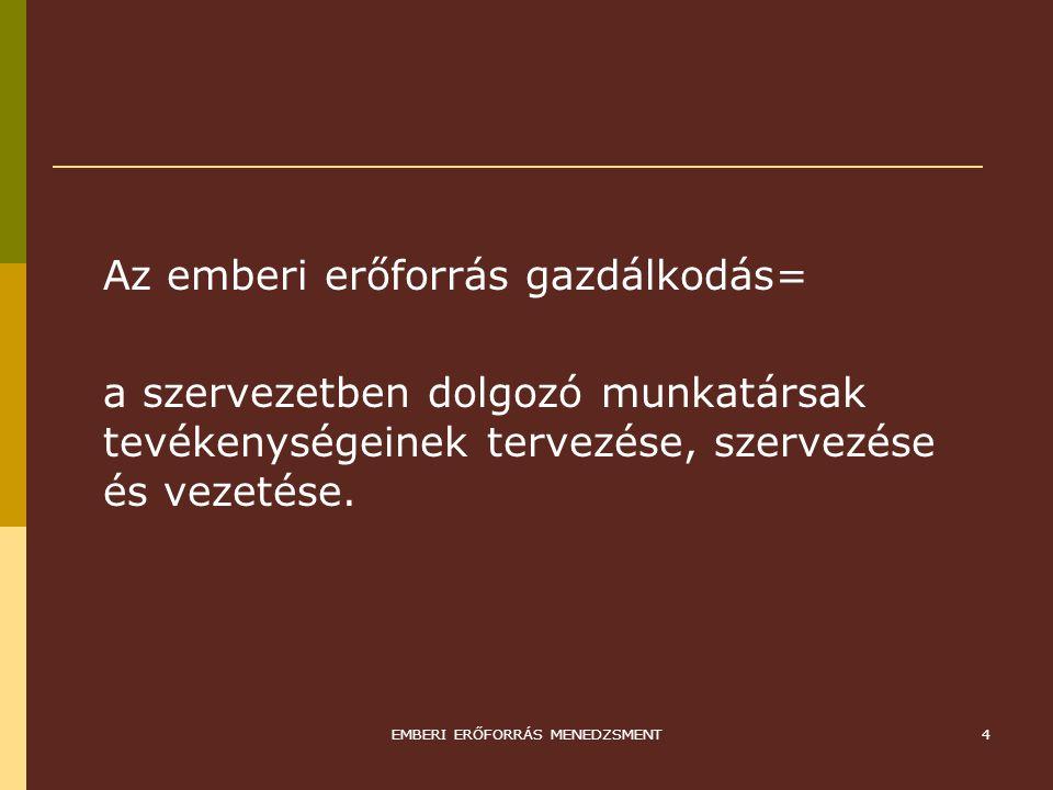 EMBERI ERŐFORRÁS MENEDZSMENT5 EEM TERÜLETEI 1.EMBERI ERŐFORRÁS TERVEZÉS 2.