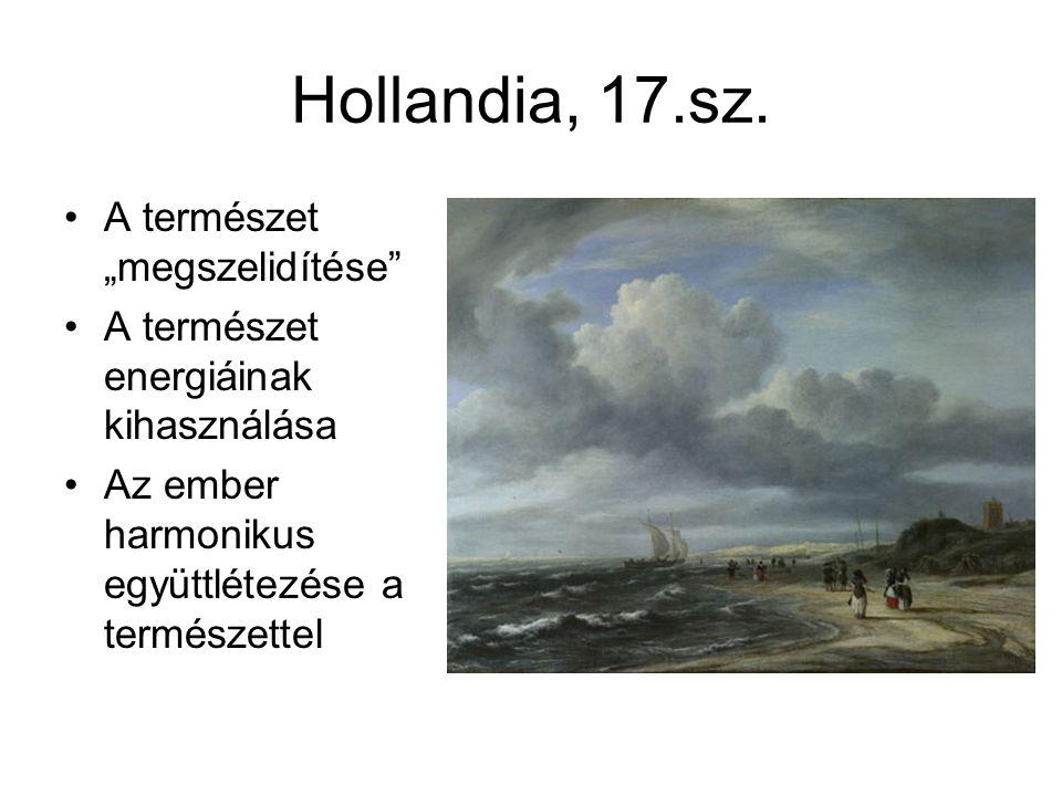 """Hollandia, 17.sz. A természet """"megszelidítése"""" A természet energiáinak kihasználása Az ember harmonikus együttlétezése a természettel"""