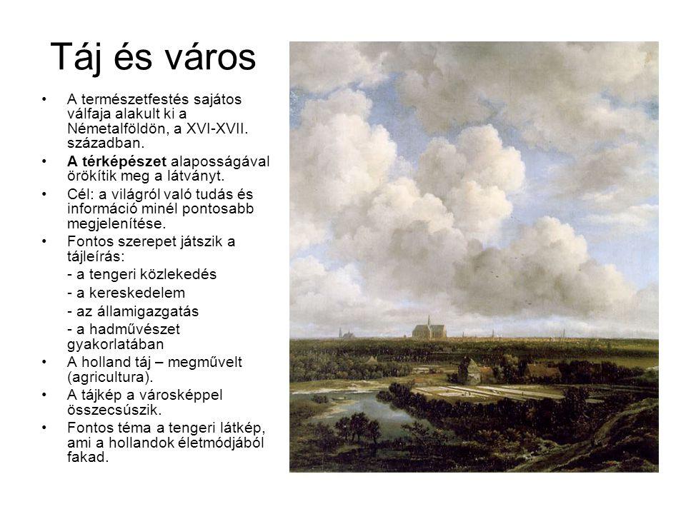 Táj és város A természetfestés sajátos válfaja alakult ki a Németalföldön, a XVI-XVII. században. A térképészet alaposságával örökítik meg a látványt.