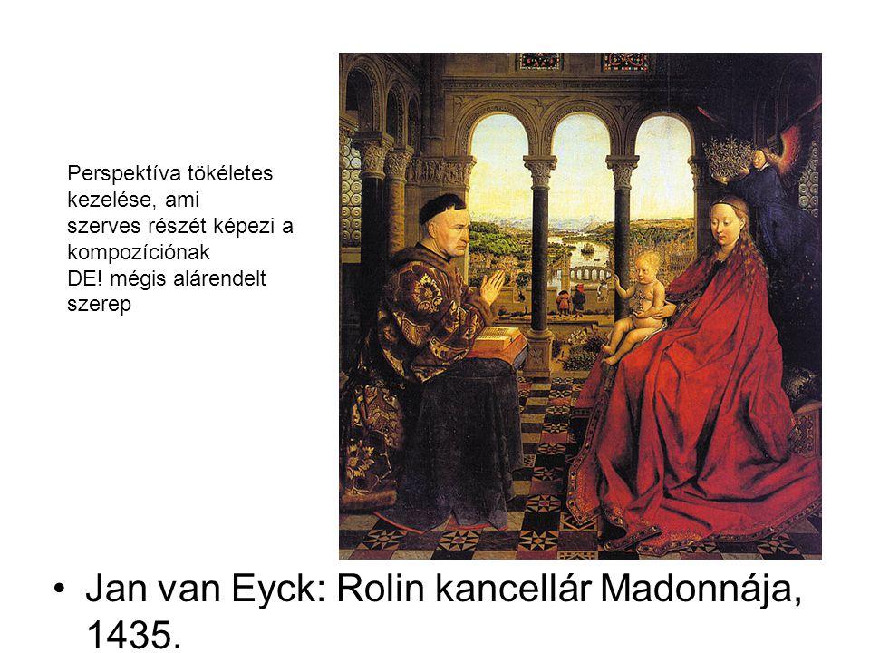 Jan van Eyck: Rolin kancellár Madonnája, 1435. Perspektíva tökéletes kezelése, ami szerves részét képezi a kompozíciónak DE! mégis alárendelt szerep
