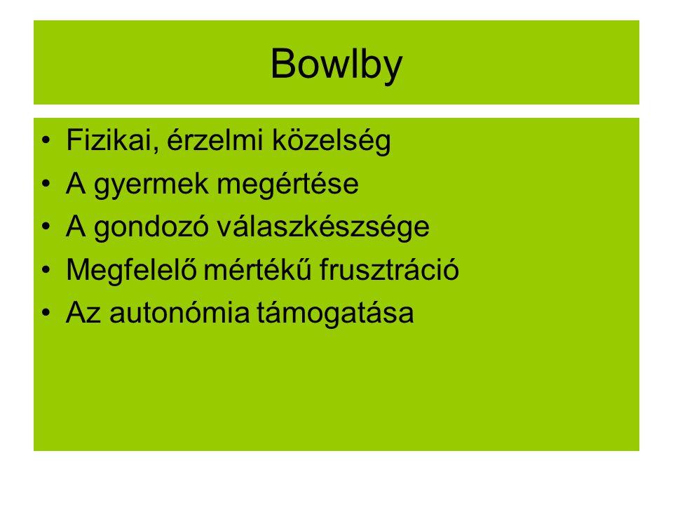 Bowlby Fizikai, érzelmi közelség A gyermek megértése A gondozó válaszkészsége Megfelelő mértékű frusztráció Az autonómia támogatása