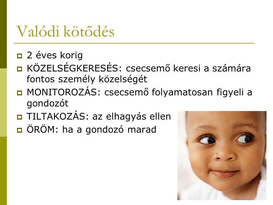 Valódi kötődés  2 éves korig  KÖZELSÉGKERESÉS: csecsemő keresi a számára fontos személy közelségét  MONITOROZÁS: csecsemő folyamatosan figyeli a go