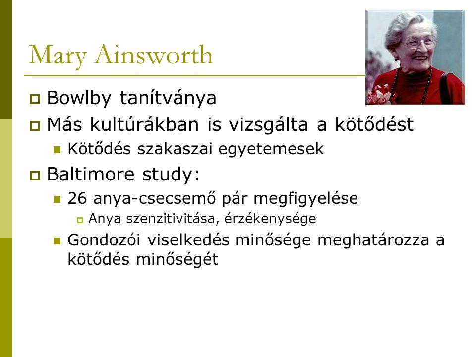 Mary Ainsworth  Bowlby tanítványa  Más kultúrákban is vizsgálta a kötődést Kötődés szakaszai egyetemesek  Baltimore study: 26 anya-csecsemő pár meg