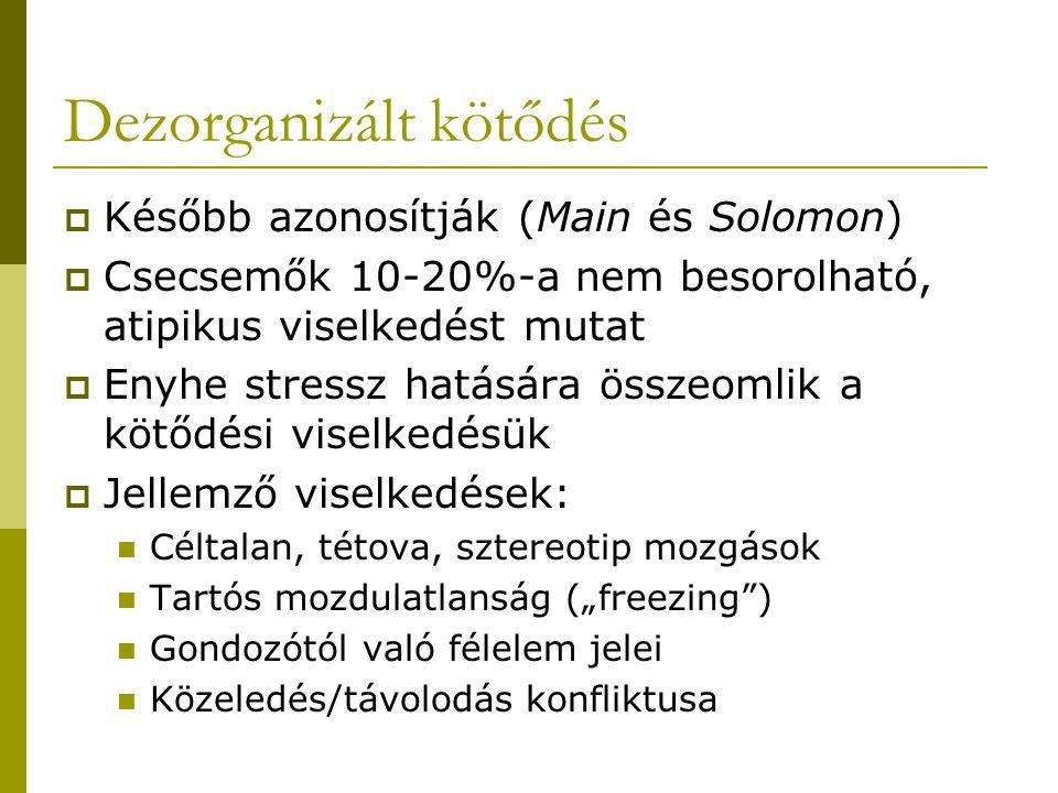 Dezorganizált kötődés  Később azonosítják (Main és Solomon)  Csecsemők 10-20%-a nem besorolható, atipikus viselkedést mutat  Enyhe stressz hatására
