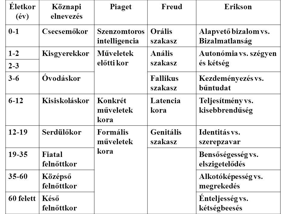 Életkor (év) Köznapi elnevezés PiagetFreudErikson 0-1CsecsemőkorSzenzomtoros intelligencia Orális szakasz Alapvető bizalom vs. Bizalmatlanság 1-2Kisgy