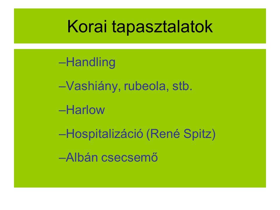 Korai tapasztalatok –Handling –Vashiány, rubeola, stb. –Harlow –Hospitalizáció (René Spitz) –Albán csecsemő