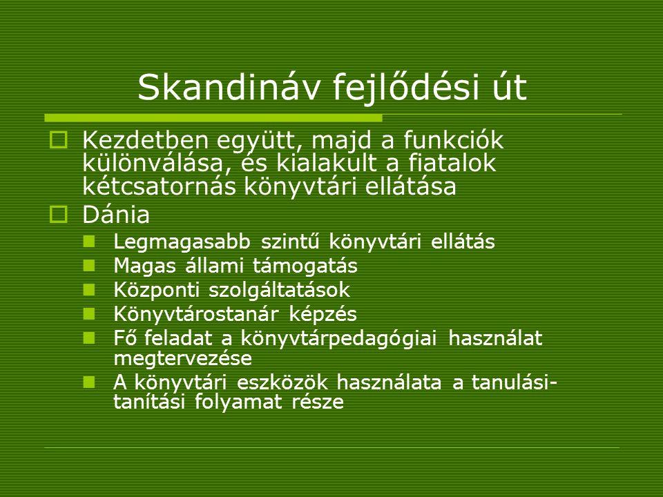 Skandináv fejlődési út  Kezdetben együtt, majd a funkciók különválása, és kialakult a fiatalok kétcsatornás könyvtári ellátása  Dánia Legmagasabb szintű könyvtári ellátás Magas állami támogatás Központi szolgáltatások Könyvtárostanár képzés Fő feladat a könyvtárpedagógiai használat megtervezése A könyvtári eszközök használata a tanulási- tanítási folyamat része