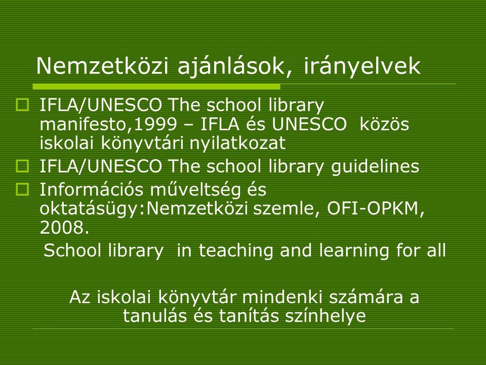 Nemzetközi ajánlások, irányelvek  IFLA/UNESCO The school library manifesto,1999 – IFLA és UNESCO közös iskolai könyvtári nyilatkozat  IFLA/UNESCO The school library guidelines  Információs műveltség és oktatásügy:Nemzetközi szemle, OFI-OPKM, 2008.