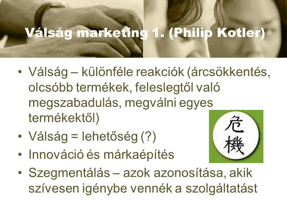 Válság marketing 1. (Philip Kotler) Válság – különféle reakciók (árcsökkentés, olcsóbb termékek, feleslegtől való megszabadulás, megválni egyes termék