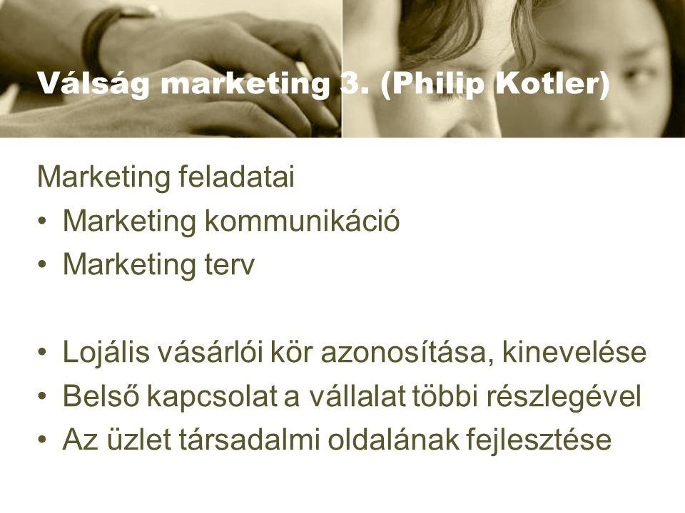 Válság marketing 3. (Philip Kotler) Marketing feladatai Marketing kommunikáció Marketing terv Lojális vásárlói kör azonosítása, kinevelése Belső kapcs