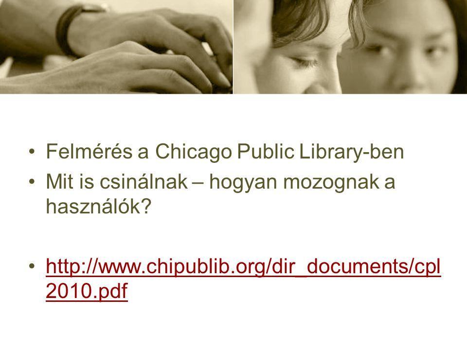 Felmérés a Chicago Public Library-ben Mit is csinálnak – hogyan mozognak a használók? http://www.chipublib.org/dir_documents/cpl 2010.pdfhttp://www.ch