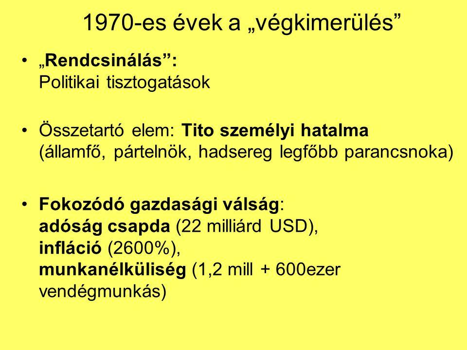"""1970-es évek a """"végkimerülés"""" """"Rendcsinálás"""": Politikai tisztogatások Összetartó elem: Tito személyi hatalma (államfő, pártelnök, hadsereg legfőbb par"""