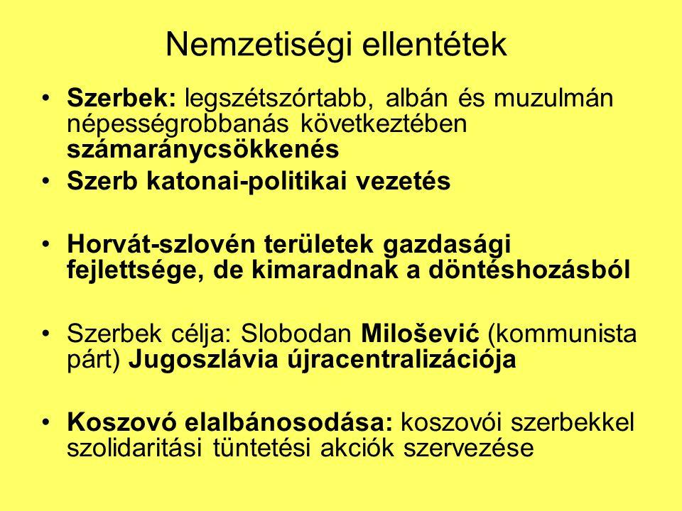 Nemzetiségi ellentétek Szerbek: legszétszórtabb, albán és muzulmán népességrobbanás következtében számaránycsökkenés Szerb katonai-politikai vezetés H