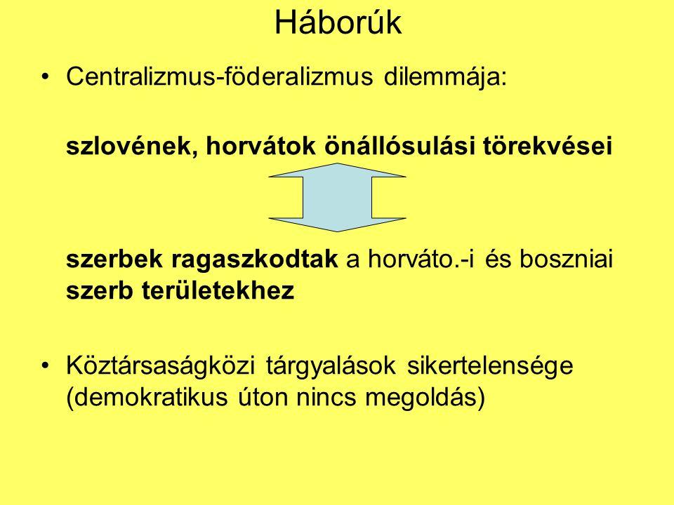 Háborúk Centralizmus-föderalizmus dilemmája: szlovének, horvátok önállósulási törekvései szerbek ragaszkodtak a horváto.-i és boszniai szerb területek