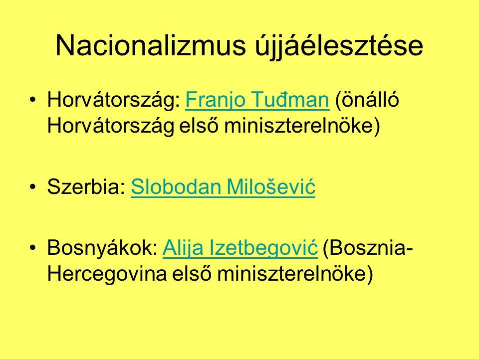 Nacionalizmus újjáélesztése Horvátország: Franjo Tuđman (önálló Horvátország első miniszterelnöke)Franjo Tuđman Szerbia: Slobodan MiloševićSlobodan Milošević Bosnyákok: Alija Izetbegović (Bosznia- Hercegovina első miniszterelnöke)Alija Izetbegović