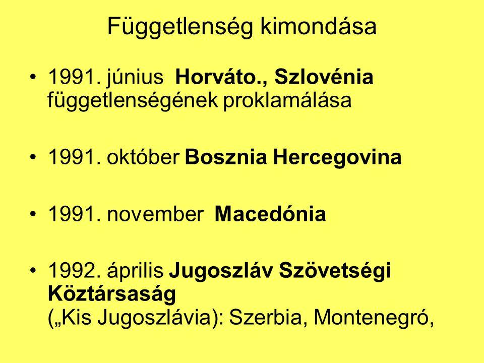 Függetlenség kimondása 1991. június Horváto., Szlovénia függetlenségének proklamálása 1991. október Bosznia Hercegovina 1991. november Macedónia 1992.