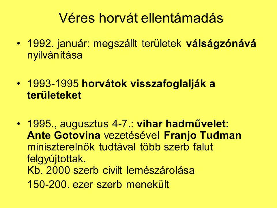 Véres horvát ellentámadás 1992. január: megszállt területek válságzónává nyilvánítása 1993-1995 horvátok visszafoglalják a területeket 1995., augusztu