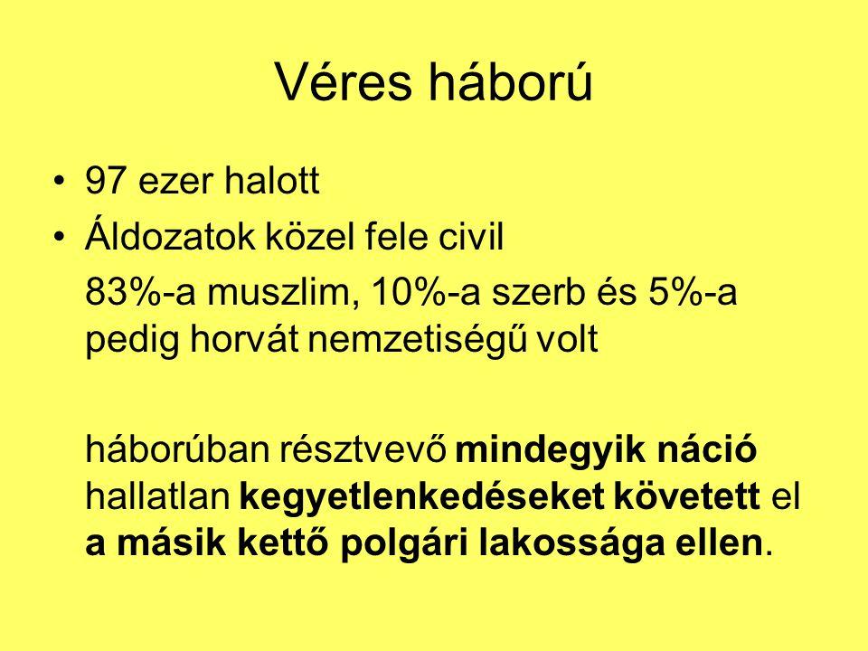 Véres háború 97 ezer halott Áldozatok közel fele civil 83%-a muszlim, 10%-a szerb és 5%-a pedig horvát nemzetiségű volt háborúban résztvevő mindegyik náció hallatlan kegyetlenkedéseket követett el a másik kettő polgári lakossága ellen.