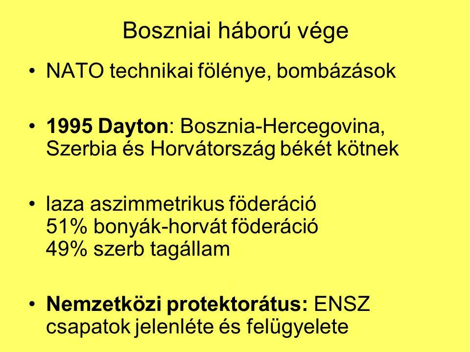 Boszniai háború vége NATO technikai fölénye, bombázások 1995 Dayton: Bosznia-Hercegovina, Szerbia és Horvátország békét kötnek laza aszimmetrikus föde