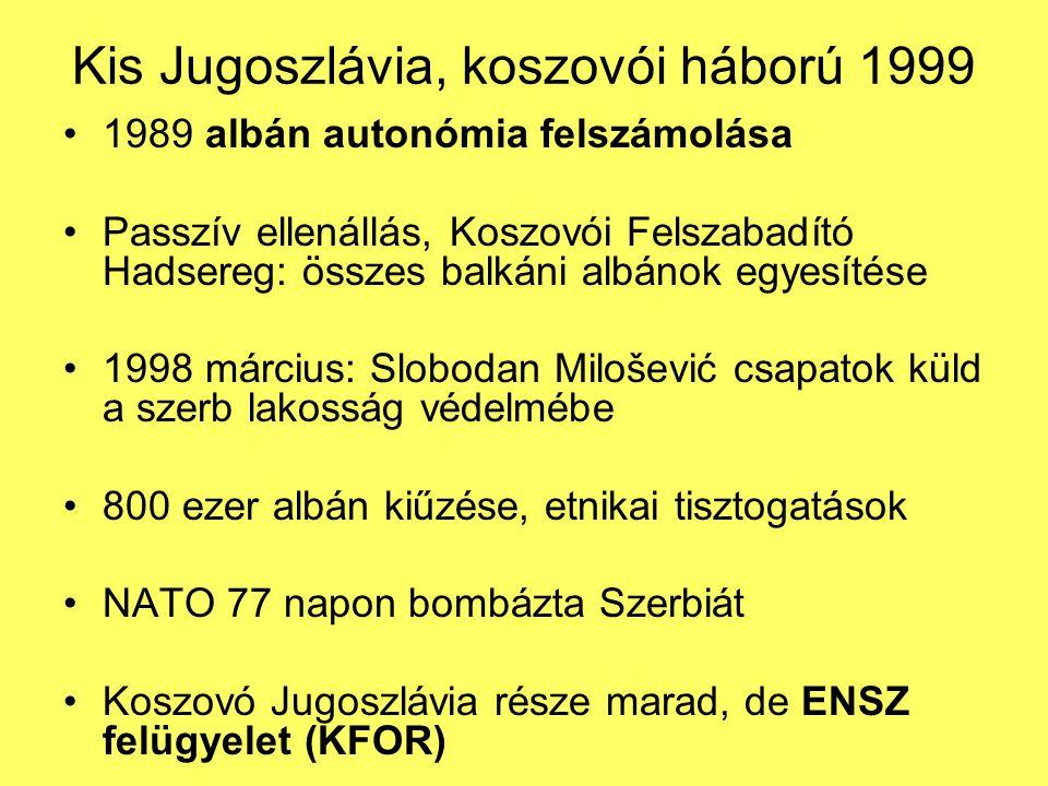 Kis Jugoszlávia, koszovói háború 1999 1989 albán autonómia felszámolása Passzív ellenállás, Koszovói Felszabadító Hadsereg: összes balkáni albánok egyesítése 1998 március: Slobodan Milošević csapatok küld a szerb lakosság védelmébe 800 ezer albán kiűzése, etnikai tisztogatások NATO 77 napon bombázta Szerbiát Koszovó Jugoszlávia része marad, de ENSZ felügyelet (KFOR)