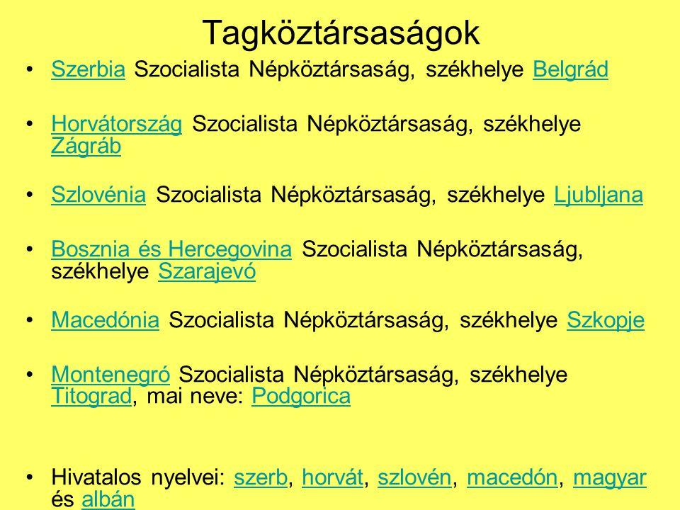 Tagköztársaságok Szerbia Szocialista Népköztársaság, székhelye BelgrádSzerbiaBelgrád Horvátország Szocialista Népköztársaság, székhelye ZágrábHorvátország Zágráb Szlovénia Szocialista Népköztársaság, székhelye LjubljanaSzlovéniaLjubljana Bosznia és Hercegovina Szocialista Népköztársaság, székhelye SzarajevóBosznia és HercegovinaSzarajevó Macedónia Szocialista Népköztársaság, székhelye SzkopjeMacedóniaSzkopje Montenegró Szocialista Népköztársaság, székhelye Titograd, mai neve: PodgoricaMontenegró TitogradPodgorica Hivatalos nyelvei: szerb, horvát, szlovén, macedón, magyar és albánszerbhorvátszlovénmacedónmagyaralbán