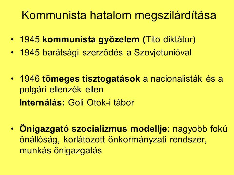 """Szakítás Sztálinnal 1947-1948 Sztálin féltékeny Tito blokkon belüli népszerűségére Regionális vezető szerep: balkáni-föderációs tervek (Bulgária-Albánia-Románia) Görög polgárháború támogatása 1948 szovjet-jugoszláv ellentétek: gazdasági blokád és emelkedő honvédelmi kiadások Az """"imperializmus láncos kutyája"""