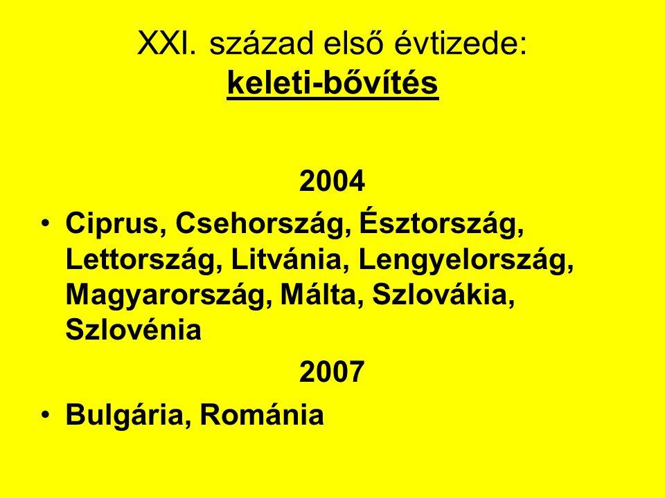 XXI. század első évtizede: keleti-bővítés 2004 Ciprus, Csehország, Észtország, Lettország, Litvánia, Lengyelország, Magyarország, Málta, Szlovákia, Sz