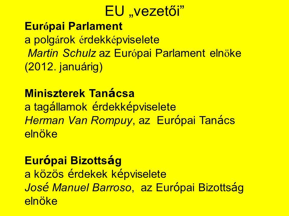 """EU """"vezetői Eur ó pai Parlament a polg á rok é rdekk é pviselete Martin Schulz az Eur ó pai Parlament eln ö ke (2012."""