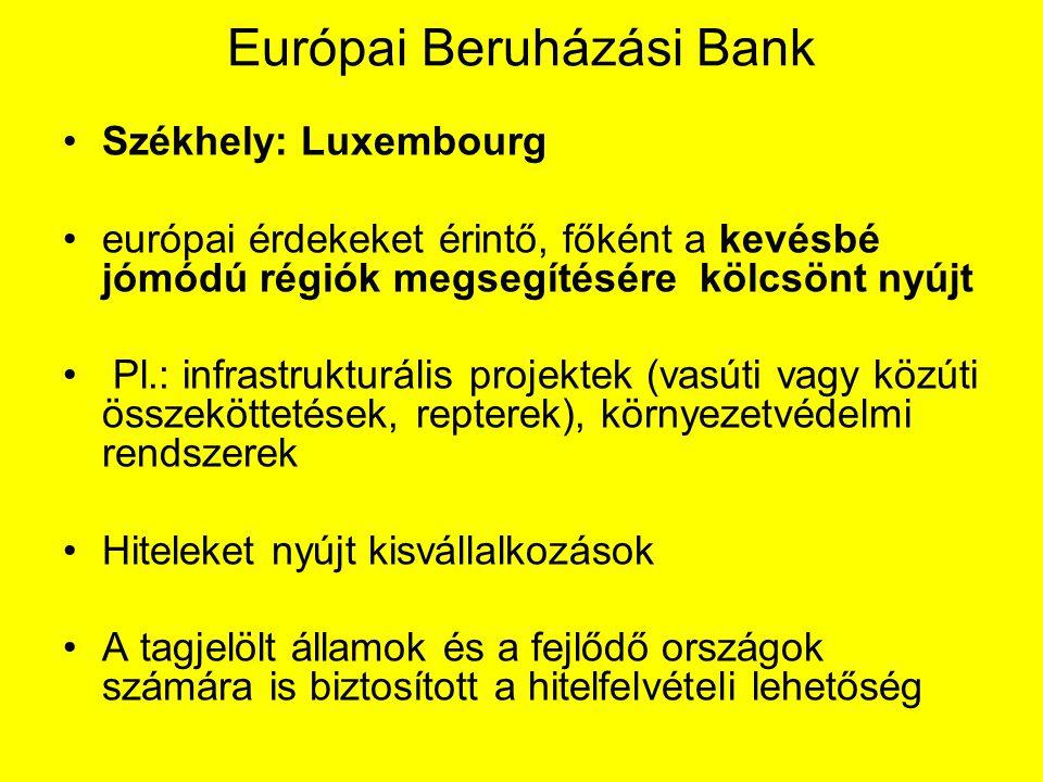 Európai Beruházási Bank Székhely: Luxembourg európai érdekeket érintő, főként a kevésbé jómódú régiók megsegítésére kölcsönt nyújt Pl.: infrastrukturális projektek (vasúti vagy közúti összeköttetések, repterek), környezetvédelmi rendszerek Hiteleket nyújt kisvállalkozások A tagjelölt államok és a fejlődő országok számára is biztosított a hitelfelvételi lehetőség