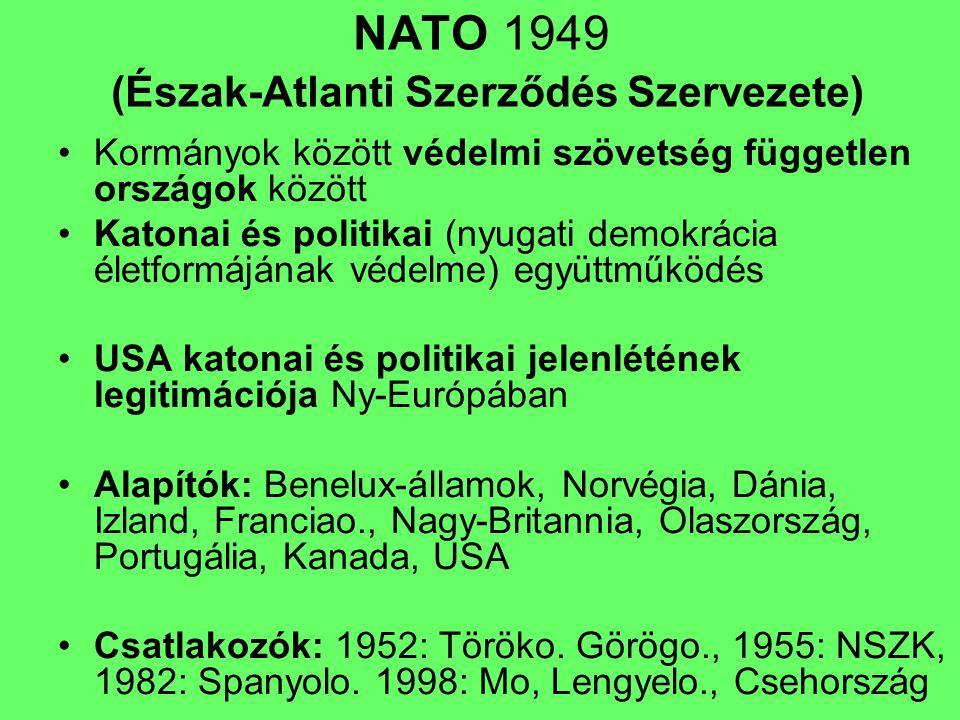 NATO 1949 (Észak-Atlanti Szerződés Szervezete) Kormányok között védelmi szövetség független országok között Katonai és politikai (nyugati demokrácia é