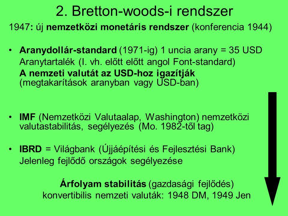 2. Bretton-woods-i rendszer 1947: új nemzetközi monetáris rendszer (konferencia 1944) Aranydollár-standard (1971-ig) 1 uncia arany = 35 USD Aranytarta