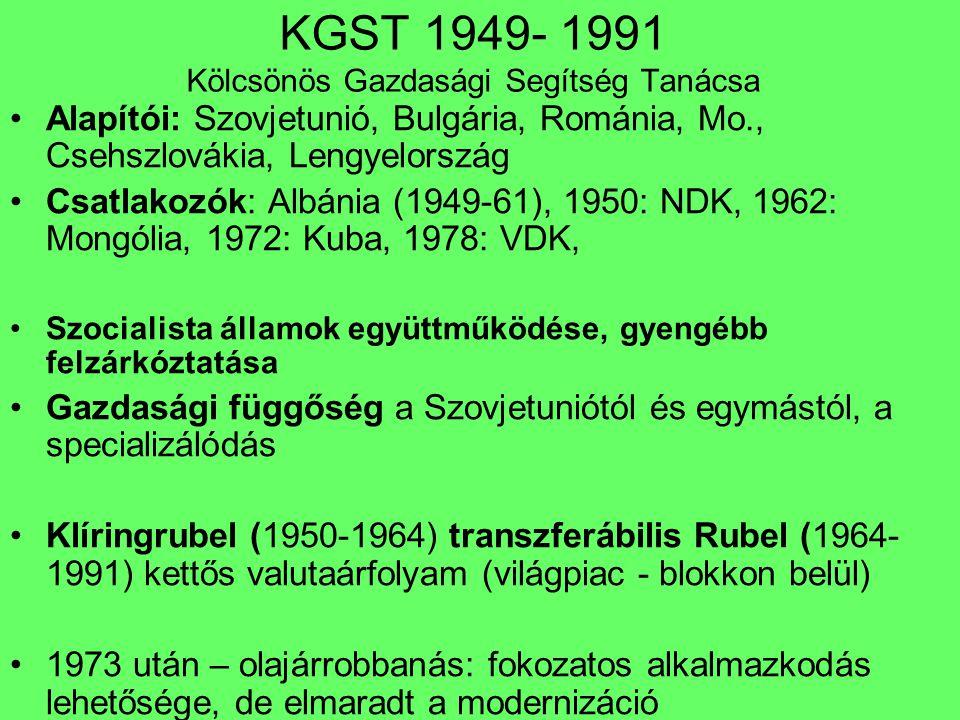KGST 1949- 1991 Kölcsönös Gazdasági Segítség Tanácsa Alapítói: Szovjetunió, Bulgária, Románia, Mo., Csehszlovákia, Lengyelország Csatlakozók: Albánia