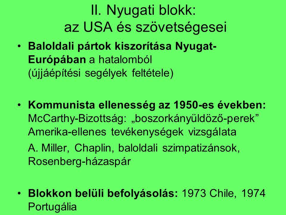 II. Nyugati blokk: az USA és szövetségesei Baloldali pártok kiszorítása Nyugat- Európában a hatalomból (újjáépítési segélyek feltétele) Kommunista ell