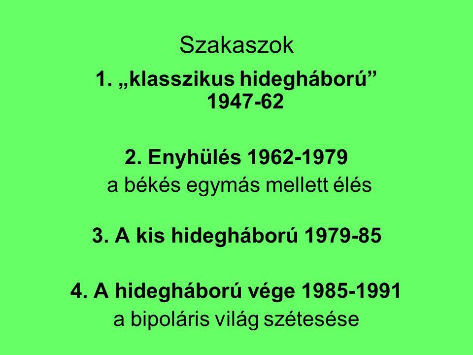 """Szakaszok 1. """"klasszikus hidegháború"""" 1947-62 2. Enyhülés 1962-1979  a békés egymás mellett élés 3. A kis hidegháború 1979-85 4. A hidegháború vége 1"""