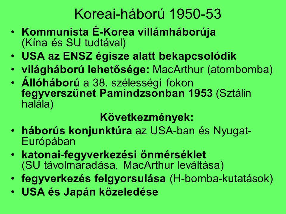 Koreai-háború 1950-53 Kommunista É-Korea villámháborúja (Kína és SU tudtával) USA az ENSZ égisze alatt bekapcsolódik világháború lehetősége: MacArthur
