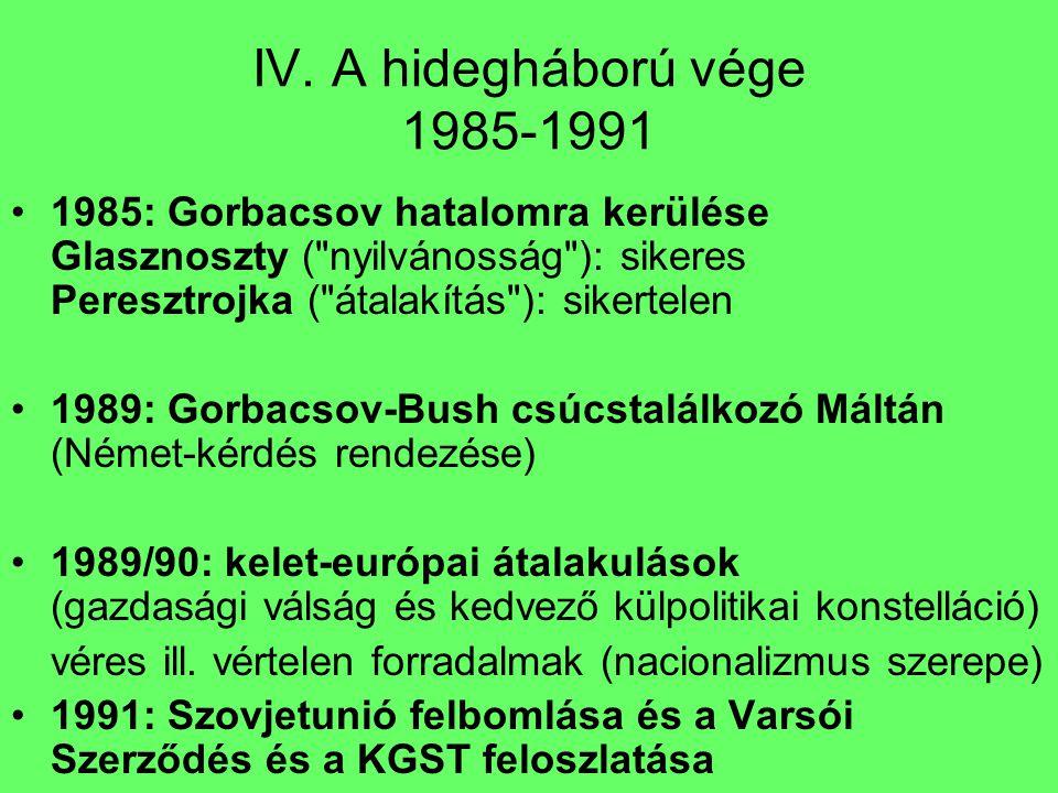 IV. A hidegháború vége 1985-1991 1985: Gorbacsov hatalomra kerülése Glasznoszty (