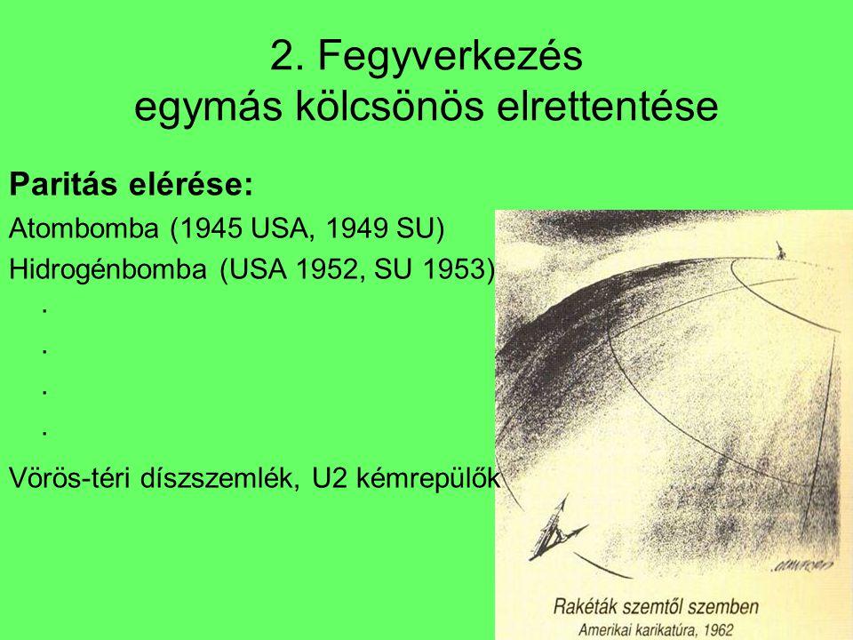 2. Fegyverkezés egymás kölcsönös elrettentése Paritás elérése: Atombomba (1945 USA, 1949 SU) Hidrogénbomba (USA 1952, SU 1953).... Vörös-téri díszszem