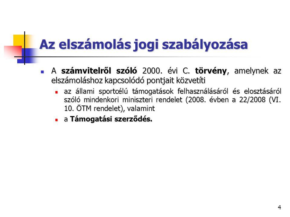 4 Az elszámolás jogi szabályozása A számvitelről szóló 2000. évi C. törvény, amelynek az elszámoláshoz kapcsolódó pontjait közvetíti A számvitelről sz
