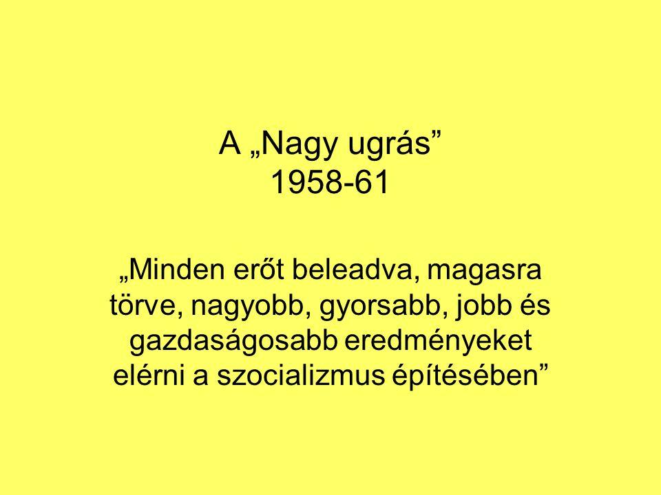 """A """"Nagy ugrás"""" 1958-61 """"Minden erőt beleadva, magasra törve, nagyobb, gyorsabb, jobb és gazdaságosabb eredményeket elérni a szocializmus építésében"""""""