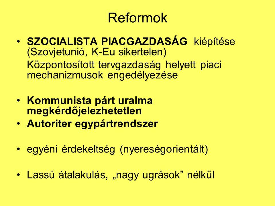 Reformok SZOCIALISTA PIACGAZDASÁG kiépítése (Szovjetunió, K-Eu sikertelen) Központosított tervgazdaság helyett piaci mechanizmusok engedélyezése Kommu