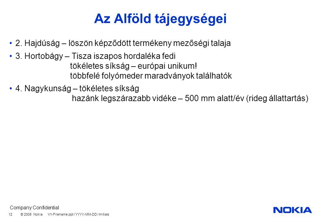 Company Confidential © 2008 Nokia V1-Filename.ppt / YYYY-MM-DD / Initials 12 Az Alföld tájegységei 2.