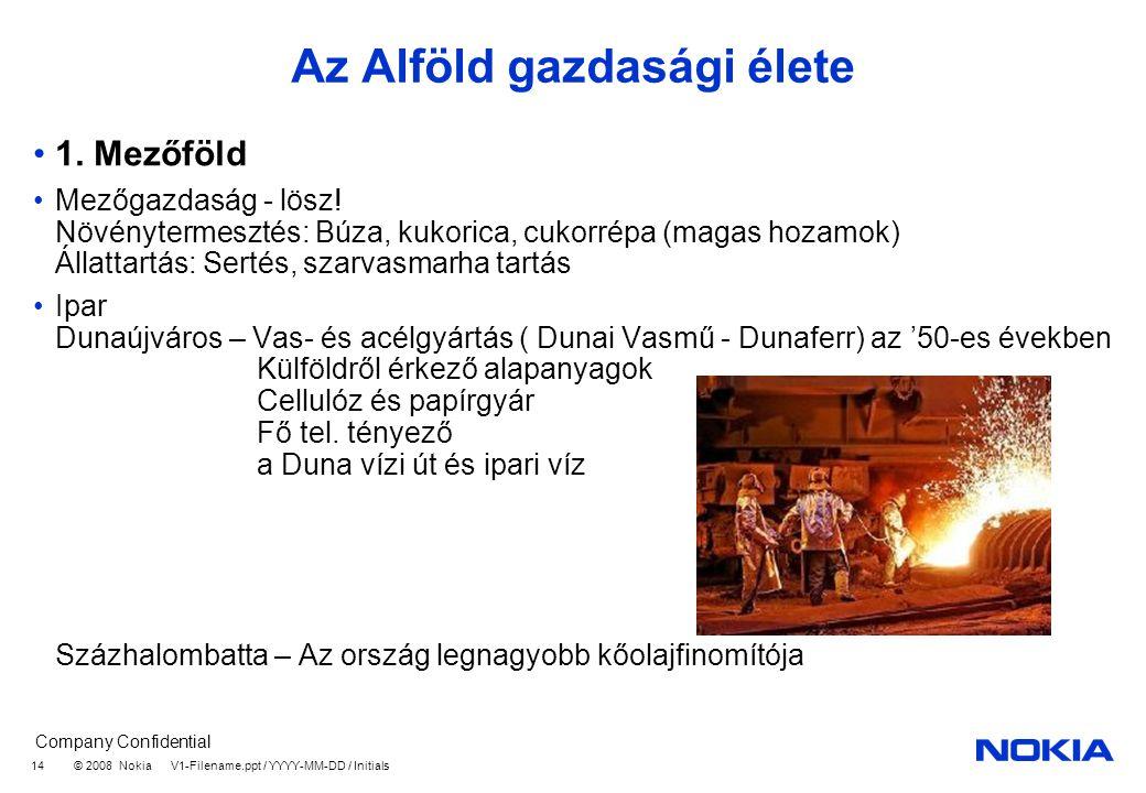 Company Confidential © 2008 Nokia V1-Filename.ppt / YYYY-MM-DD / Initials 14 Az Alföld gazdasági élete 1.