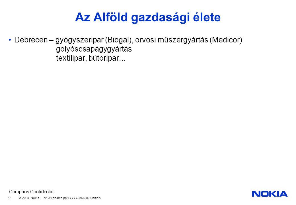 Company Confidential © 2008 Nokia V1-Filename.ppt / YYYY-MM-DD / Initials 18 Az Alföld gazdasági élete Debrecen – gyógyszeripar (Biogal), orvosi műszergyártás (Medicor) golyóscsapágygyártás textilipar, bútoripar...