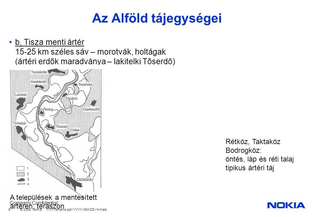 Company Confidential © 2008 Nokia V1-Filename.ppt / YYYY-MM-DD / Initials 9 Az Alföld tájegységei b, Tisza menti ártér 15-25 km széles sáv – morotvák, holtágak (ártéri erdők maradványa – lakitelki Tőserdő) A települések a mentesített ártéren, teraszon Rétköz, Taktaköz Bodrogköz: öntés, láp és réti talaj tipikus ártéri táj
