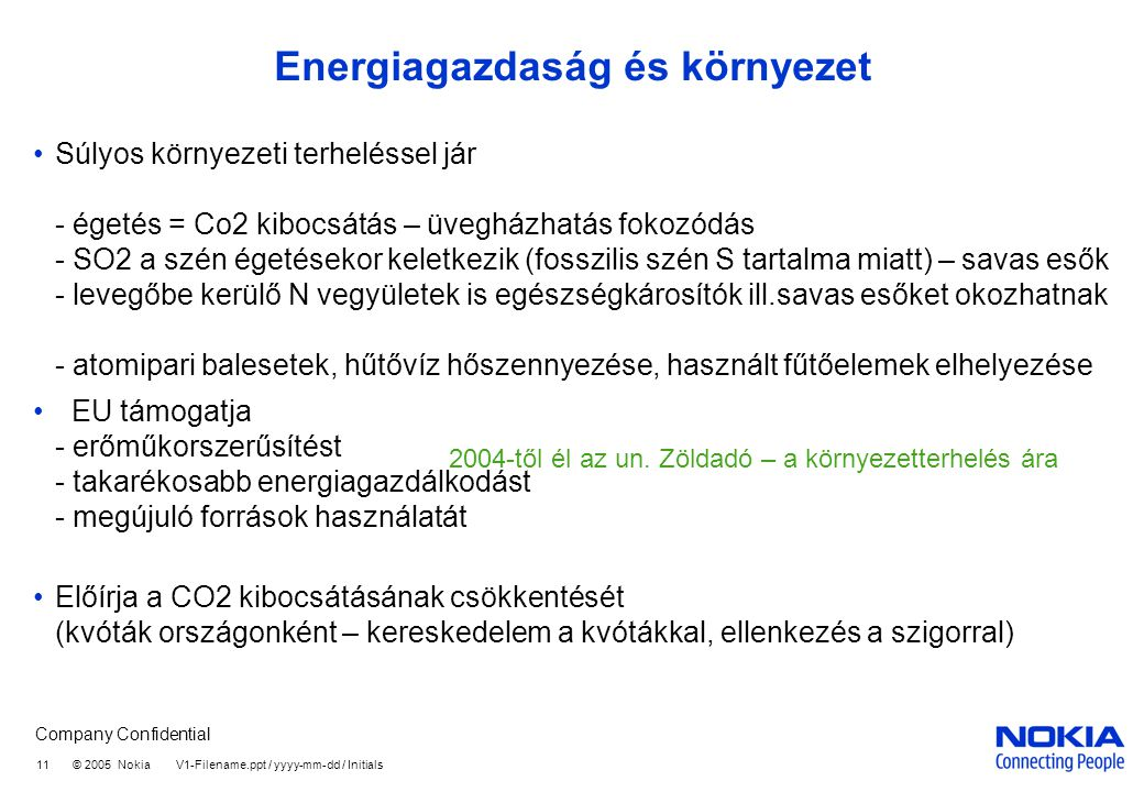 Company Confidential 11 © 2005 Nokia V1-Filename.ppt / yyyy-mm-dd / Initials Energiagazdaság és környezet Súlyos környezeti terheléssel jár - égetés =
