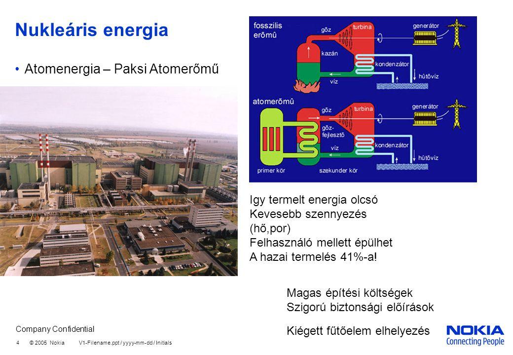 Company Confidential 4 © 2005 Nokia V1-Filename.ppt / yyyy-mm-dd / Initials Nukleáris energia Atomenergia – Paksi Atomerőmű Igy termelt energia olcsó