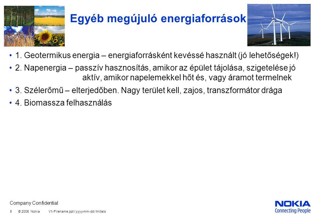Company Confidential 8 © 2005 Nokia V1-Filename.ppt / yyyy-mm-dd / Initials Egyéb megújuló energiaforrások 1. Geotermikus energia – energiaforrásként