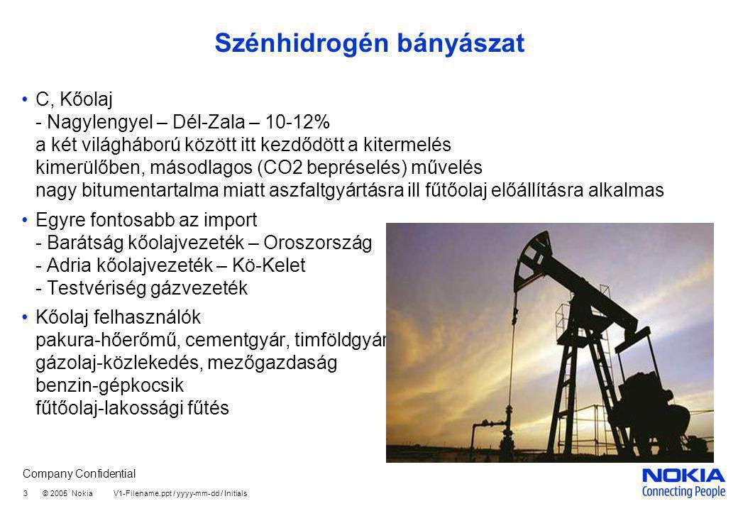 Company Confidential 3 © 2005 Nokia V1-Filename.ppt / yyyy-mm-dd / Initials Szénhidrogén bányászat C, Kőolaj - Nagylengyel – Dél-Zala – 10-12% a két v
